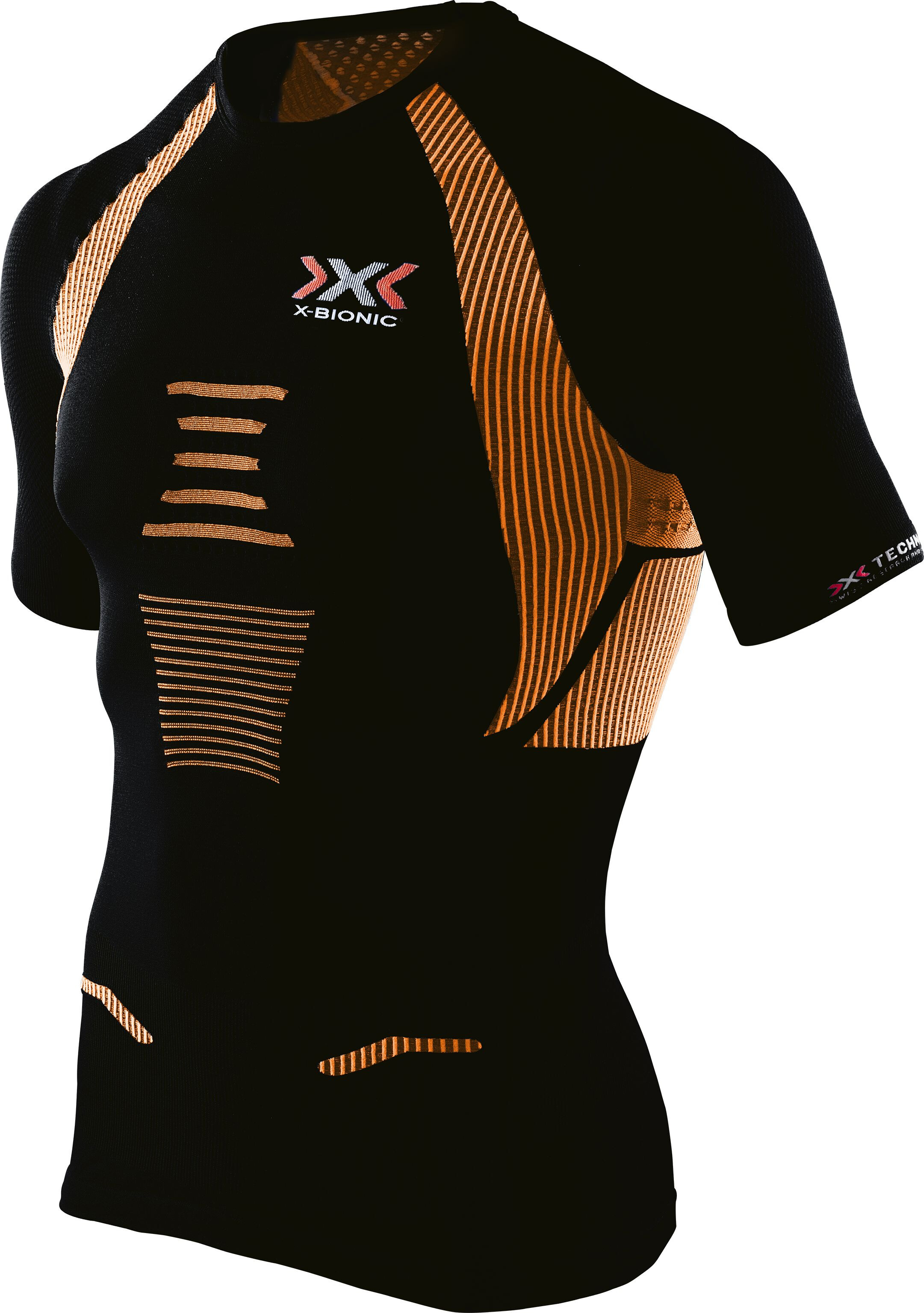 x bionic the trick running shirt ss men black orange shiny. Black Bedroom Furniture Sets. Home Design Ideas